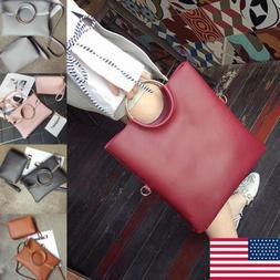 2PC Women PU Leather Fashion Handbag For One Shoulder Foldin