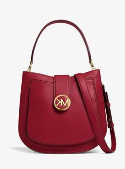 $348! NEW MICHAEL KORS LILLIE MAROON MEDIUM CROSSBODY SHOULD