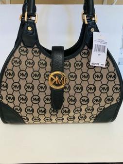 $378 MICHAEL KORS Hudson Lrg Satchel Black Grey MK Logo Mono