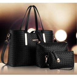 3PCS/SET Women Leather Satchel Handbag Shoulder Messenger Cr