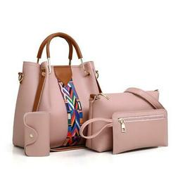 4PCS Set Purses and Handbags PU Leather Striped Shoulder Bag