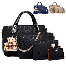 4pcs/set Women Ladies Leather Handbag Shoulder Tote Purse Sa