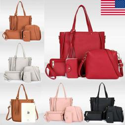 4PCS/Set Women Lady Leather Shoulder Bag Handbag Satchel Clu