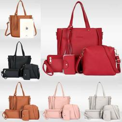 4PCS/Set Women Lady Leather Shoulder Bag Handbag Satchel Clu