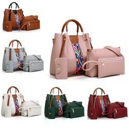 4PCS Set Women Leather Handbag Shoulder Tote Bag Lady Clutch