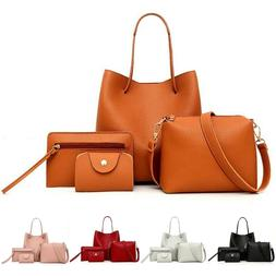 4pcs Womens Leather Lady Shoulder Bags Tote Purse Messenger