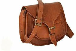 """9"""" Small Vintage Leather Crossbody Messenger Bag For Women T"""