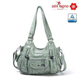 Angelkiss Fashion 2 Top Zipper Soft Washed PU Leather Handba