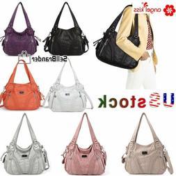 Angelkiss Women Purses Satchel Handbags Shoulder Soft  Washe