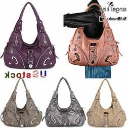 ANGELKISS Women's  Handbag Washed Leather Satchel Shoulder L