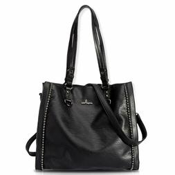Angelkiss Women'S Soft Pu Leather Tote Bag Top Handle Should