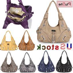 ANGELKISS Women's Washed Leather Satchel Handbag Shoulder La