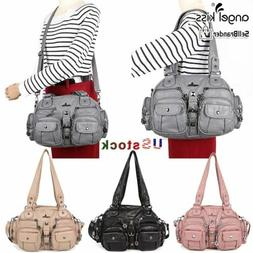 ANGELKISS Women Washed Leather Handbag Satchel Crossbody Sho