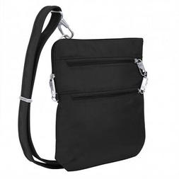 Anti-Theft Classic Slim Double Zip Crossbody Bag