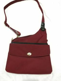 Travelon Anti-theft Cross Body Bag, Purse,  Burgundy Red Win