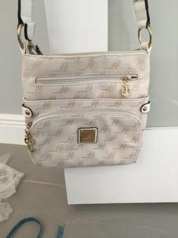 B BRENTANO BB Crossbody Handbag Purse Beige Gold Trim Small