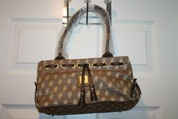 B BRENTANO BB  Handbag Purse Brown Gold Trim  NEW NWT