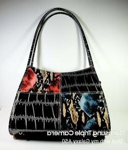 BB BRENTANO Purse Handbag Patent Leather Dark Brown w Snakes