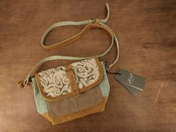 Myra Bag Leaf Print Small Crossbody Purse Bag Leather and Co