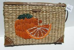Michael Kors Bag purse cluch gold brown orange green tan LEA