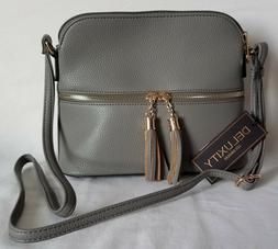 MKII Collection Bella Tassel Charm Crossbody Purse Grey Delu