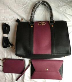 Dasein Black And Purple Handbag With Matching Wallet, Coin P