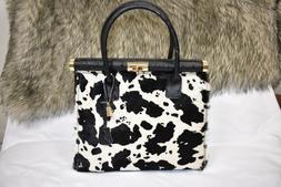 black & white cowhide and genuine alligator skin leather pur