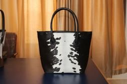 Black And White Full Cow hide Tote Hand Bag Real Leather Lad