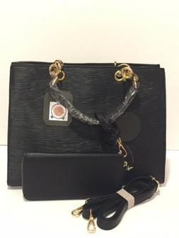 Black Handbag And Wallet Set