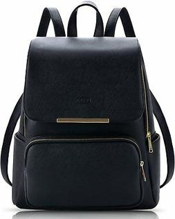 COOFIT Black Leather Backpack Schoolbag Casual Daypack Lapto