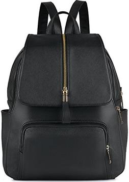 Leather Backpack, COOFIT Black Leather Backpack Women School