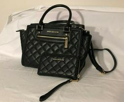 Michael Kors Black Leather Quilted Selma Purse and Wallet