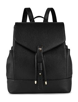 Coofit Black PU Leather Backpack Laptop Backpack Schoolbag C