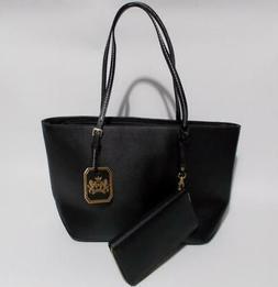 Deluxity Black PVC Vinyl Tote With Wallet Large Handbag Purs