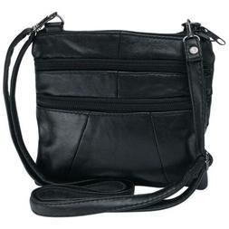 BLACK Solid Genuine Leather Purse Handbag Womens Shoulder Cr