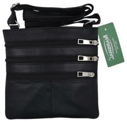 Black Women's Genuine Leather Small Crossbody Shoulder Bag P