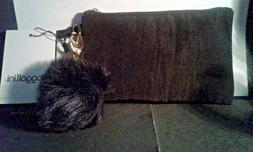 BAGGALLINI BLACK WRISTLET AND FAUX FUR PURSE CHARM-NEW WITH