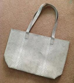 BLOOMINGDALE'S Light Gray White Faux Snakeskin Tote Bag Shou