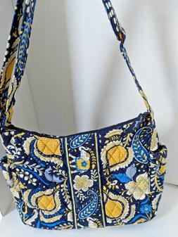 Vera Bradley Blue and Gold Flowered Purse Handbag tote