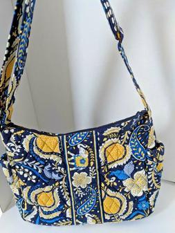 Vera Bradley Blue and Gold Flowered Purse Handbag tote