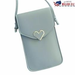 Blue Cross-body Touch Screen Cell Phone Wallet Shoulder Bag