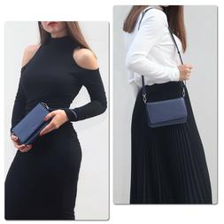 Crossbody Purse Genuine Leather Multi-Pocket Handbag w/ Orga
