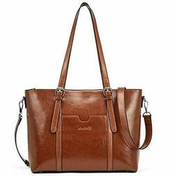 BOSTANTEN Women Leather Laptop Tote Office Shoulder Handbag