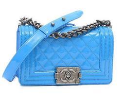 Chanel Boy Chain Shoulder Bag Pouch Purse Patent blue Woman