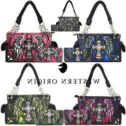 Camouflage Cross Western Purses Country Handbags Women Shoul