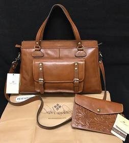 PATRICIA NASH CANNES Heritage Leather Tote Purse Shoulder Sa
