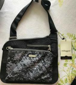 baggallini Cargo Print Crossbody Bag, Purse, Black and Gray,