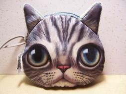 Cat Face Coin Purse Soft Plush Zipper Pouch Gift for Kids, C