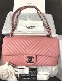 CHANEL Chain Shoulder Bag Purse Cross body Pink Woman Auth U