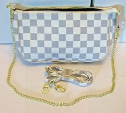 Checkered Crossbody Handbag Womens w/ Strap & Chain. White,